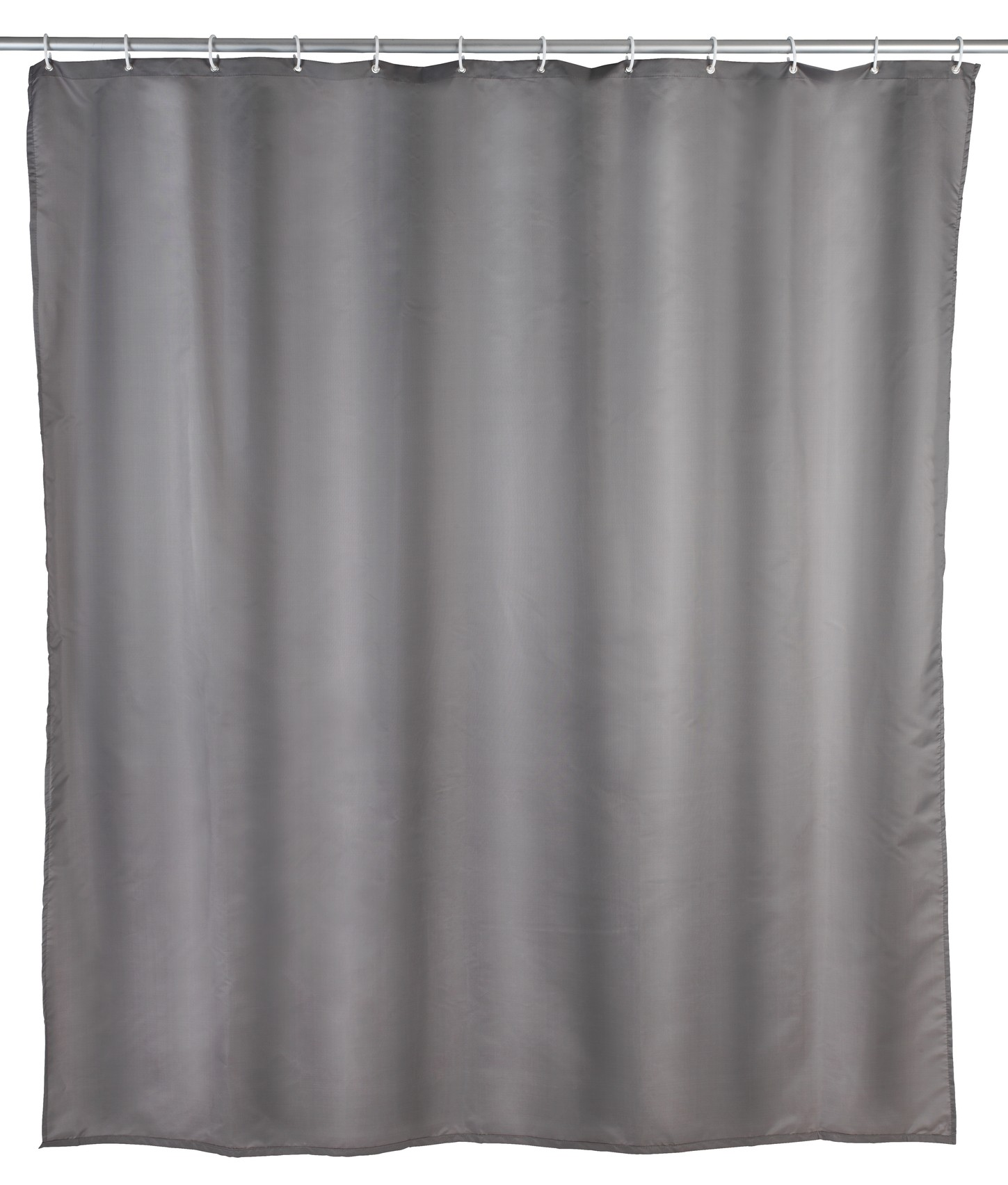 Wenko Duschvorhang Uni Grau, Polyester, 180 x 200 cm, waschbar