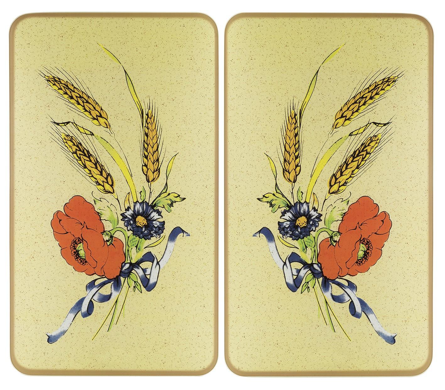 Herdabdeckplatte Universal Kornblumen, 2er Set, für alle Herdarten