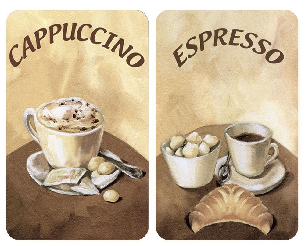 Herdabdeckplatte Universal Kaffee, 2er Set, für alle Herdarten