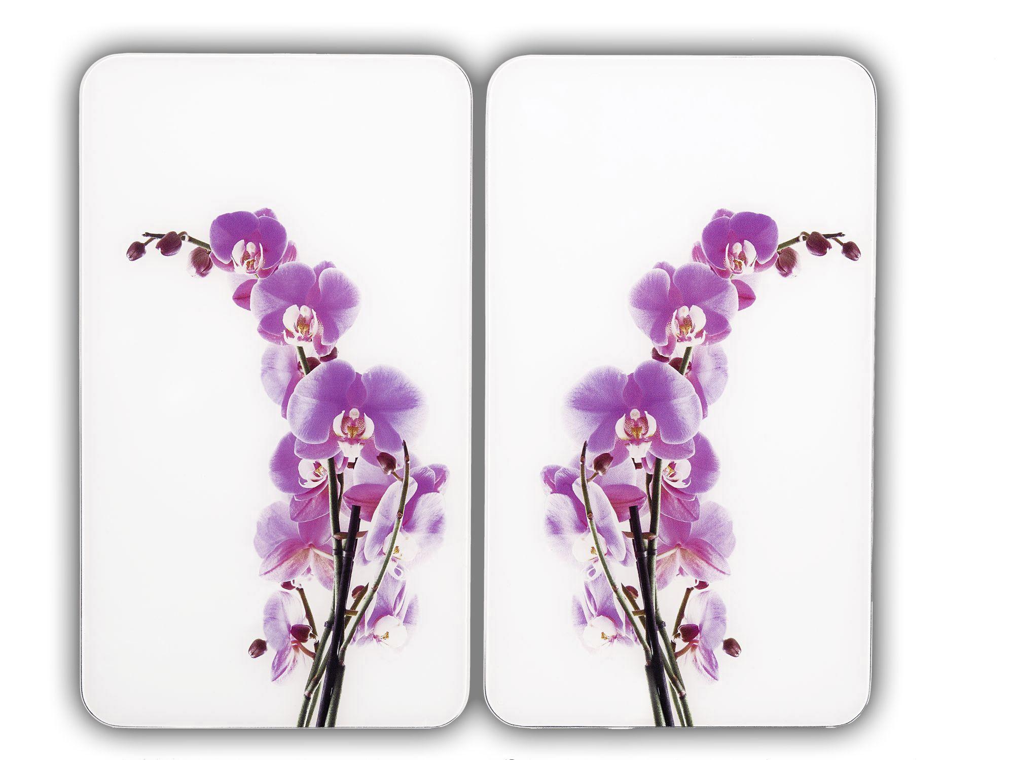 Herdabdeckplatte Universal Orchideenblüte, 2er Set, für alle Herdarten