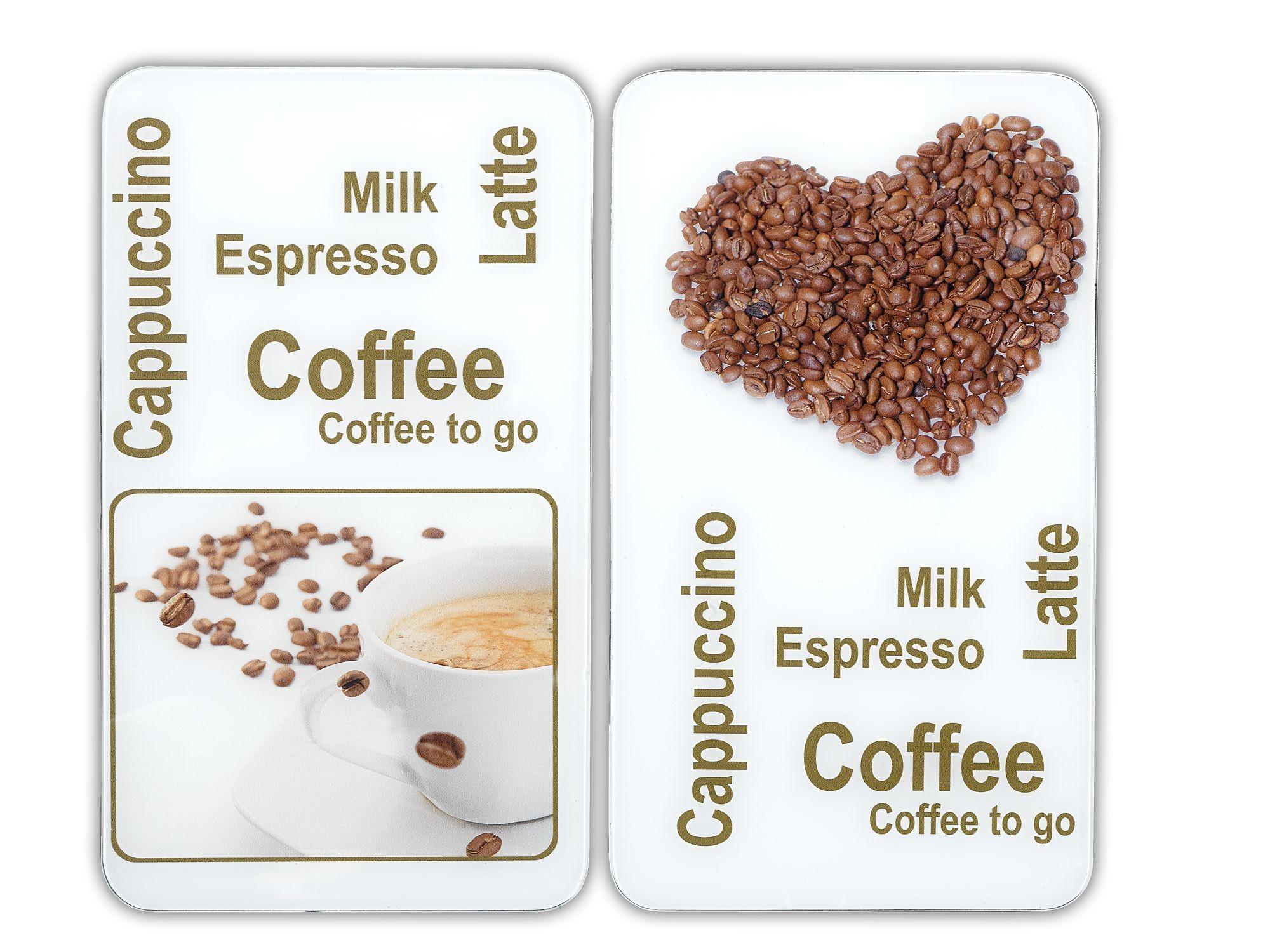 Herdabdeckplatte Universal Kaffeegenuss, 2er Set, für alle Herdarten