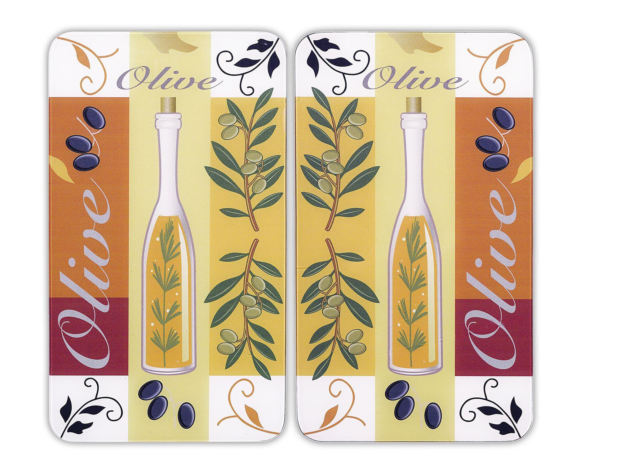 Herdabdeckplatte Universal Oliven, 2er Set, für alle Herdarten