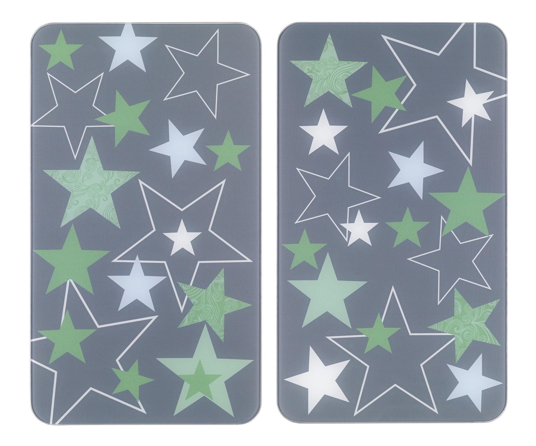 Herdabdeckplatte Universal Sterne Grün, 2er Set, für alle Herdarten