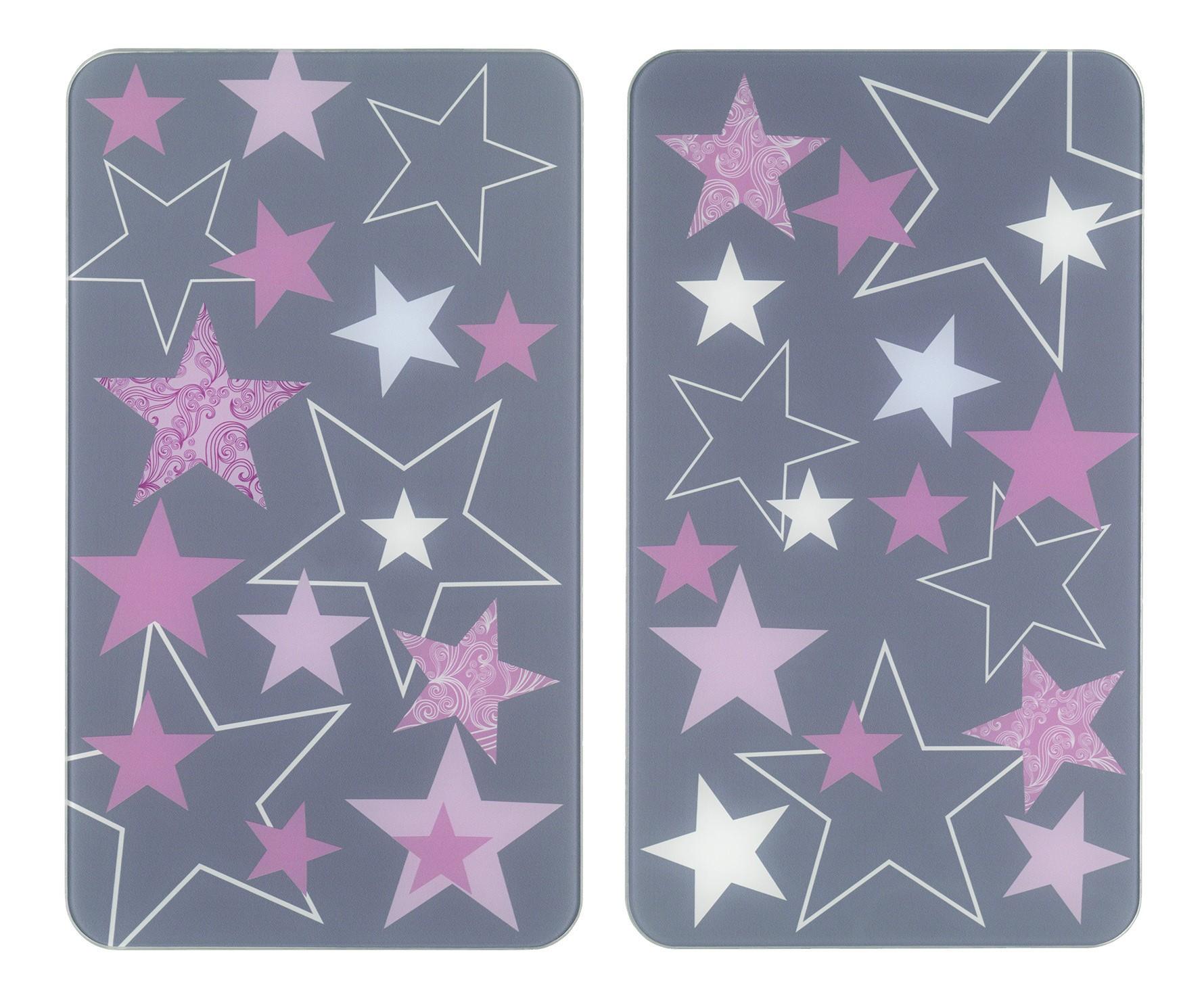 Herdabdeckplatte Universal Sterne Rosa, 2er Set, für alle Herdarten
