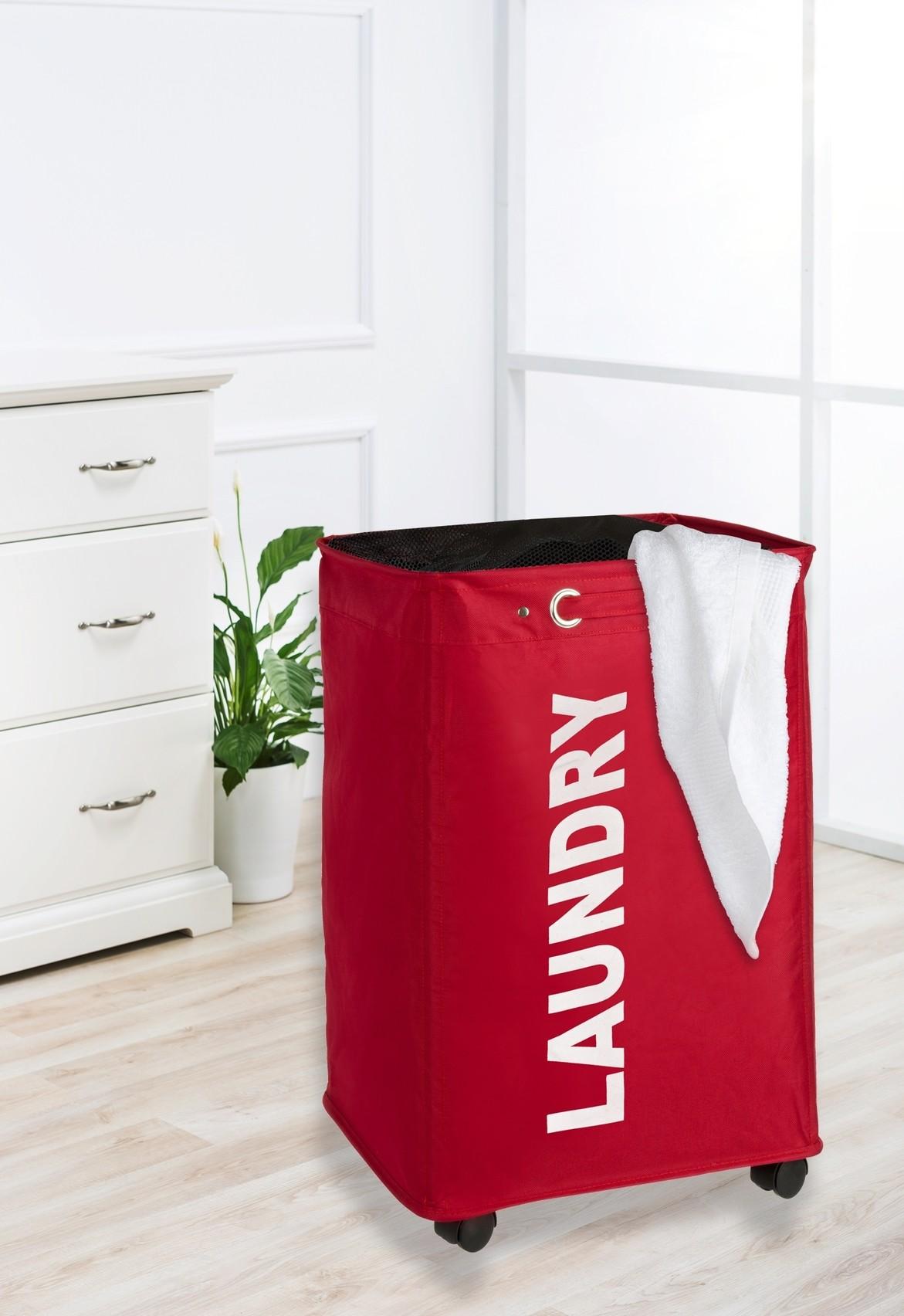 Wenko Wäschesammler Quadro Rot, Wäschekorb, 79 l