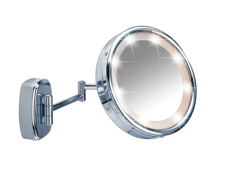 Wenko Kosmetikspiegel mit Touch-Funktion, Wandspiegel, 5-fach Vergrößerung