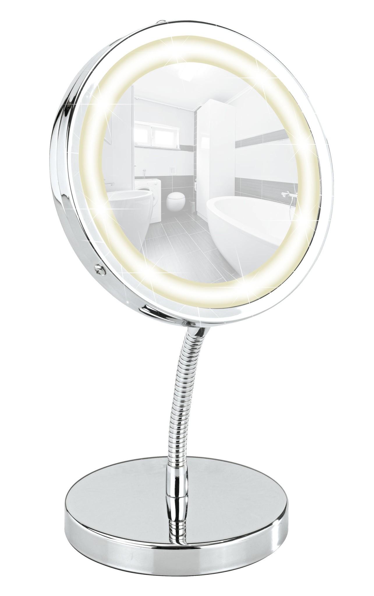 Wenko LED Kosmetikspiegel Brolo, Standspiegel, 3-fach Vergrößerung
