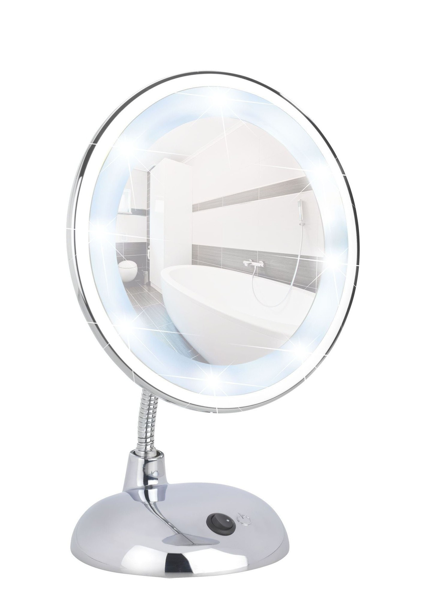 Wenko LED Kosmetikspiegel Style Chrom, Standspiegel, 3-fach Vergrößerung