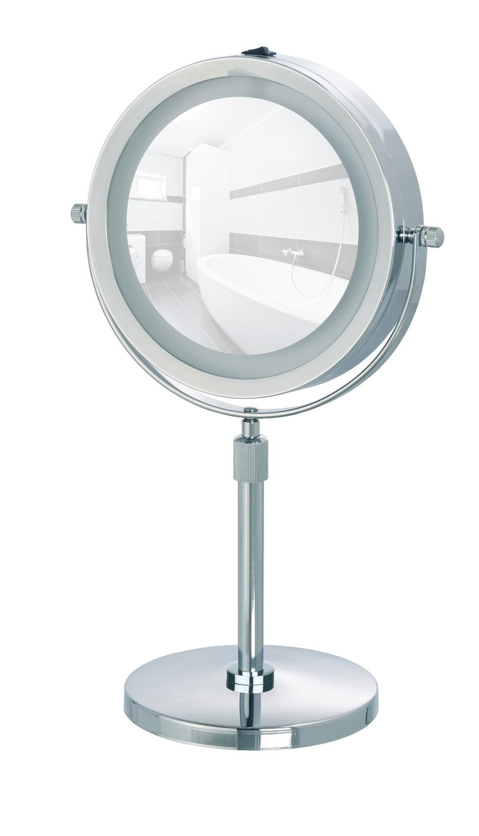 Wenko LED Kosmetikspiegel Lumi, Standspiegel, 5-fach Vergrößerung