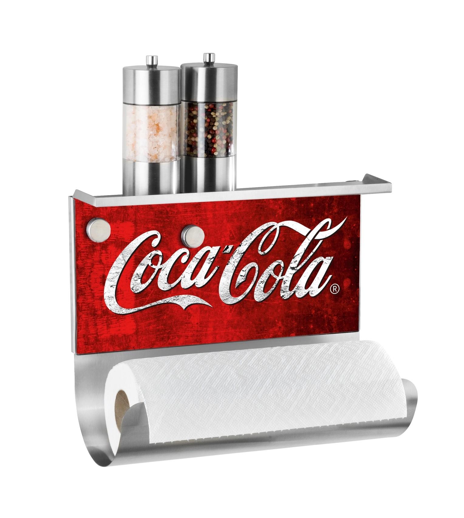 Wenko Magnetischer Rollenhalter mit Ablage Coca-Cola Classic