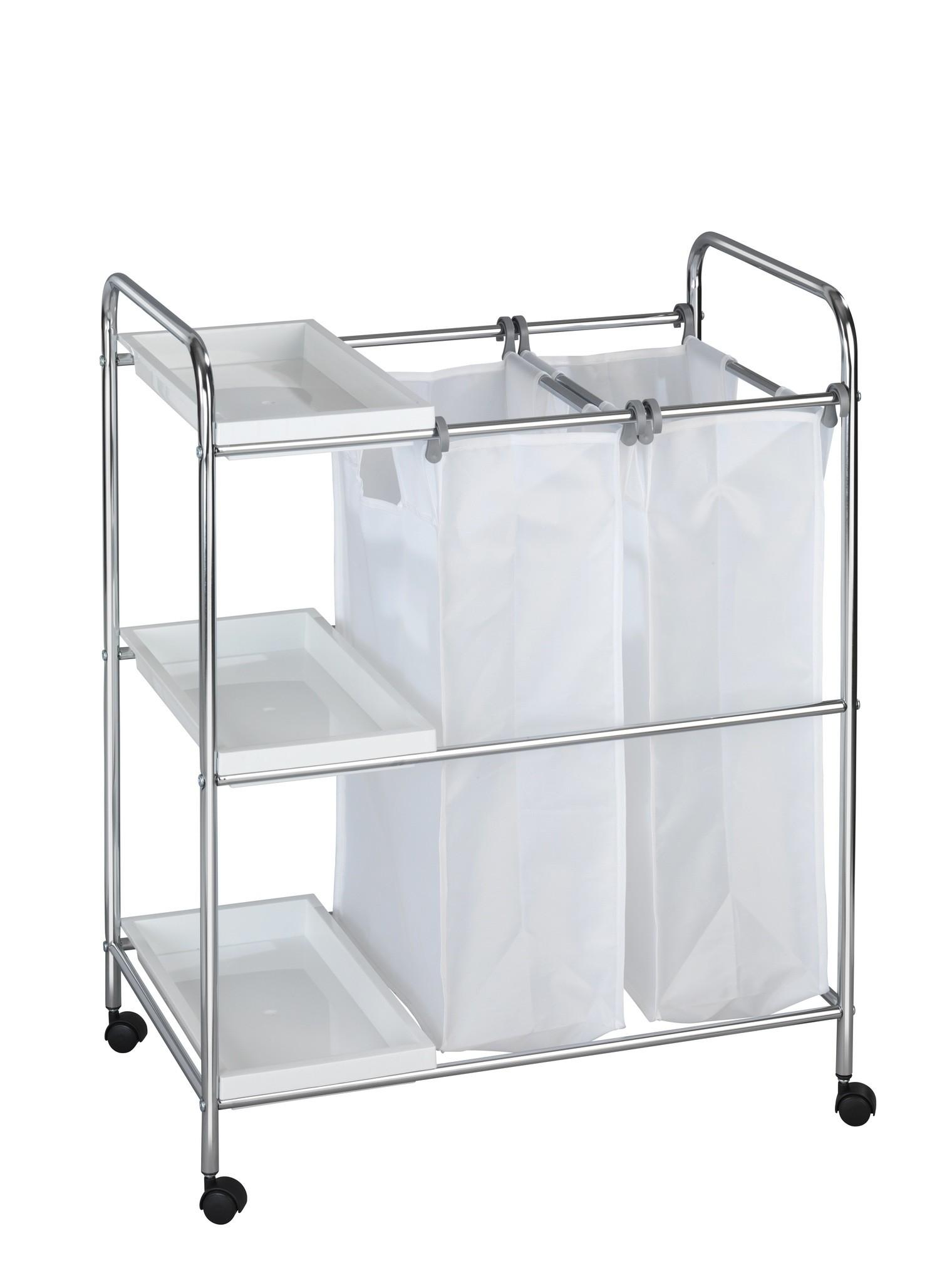 Wäschewagen Arona, 3 Ablagen, 2 Wäschesäcke