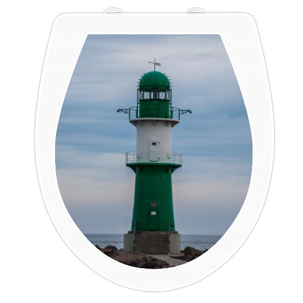 WC-Sitz Aufkleber grüner Leuchtturm Warnemünde