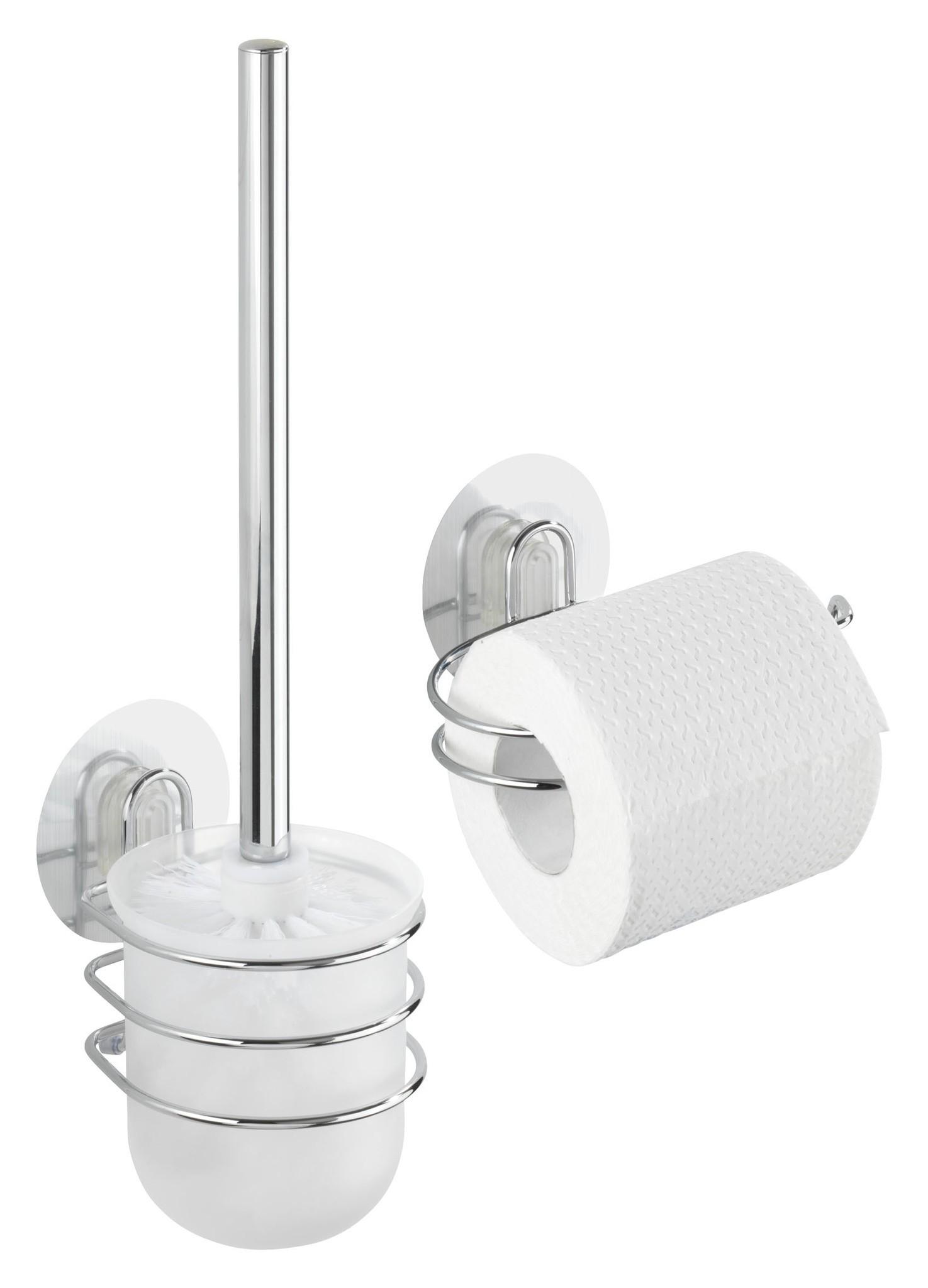 Static-Loc WC-Garnitur und WC-Rollenhalter Osimo, 2-teiliges Set, Befestigen ohne bohren