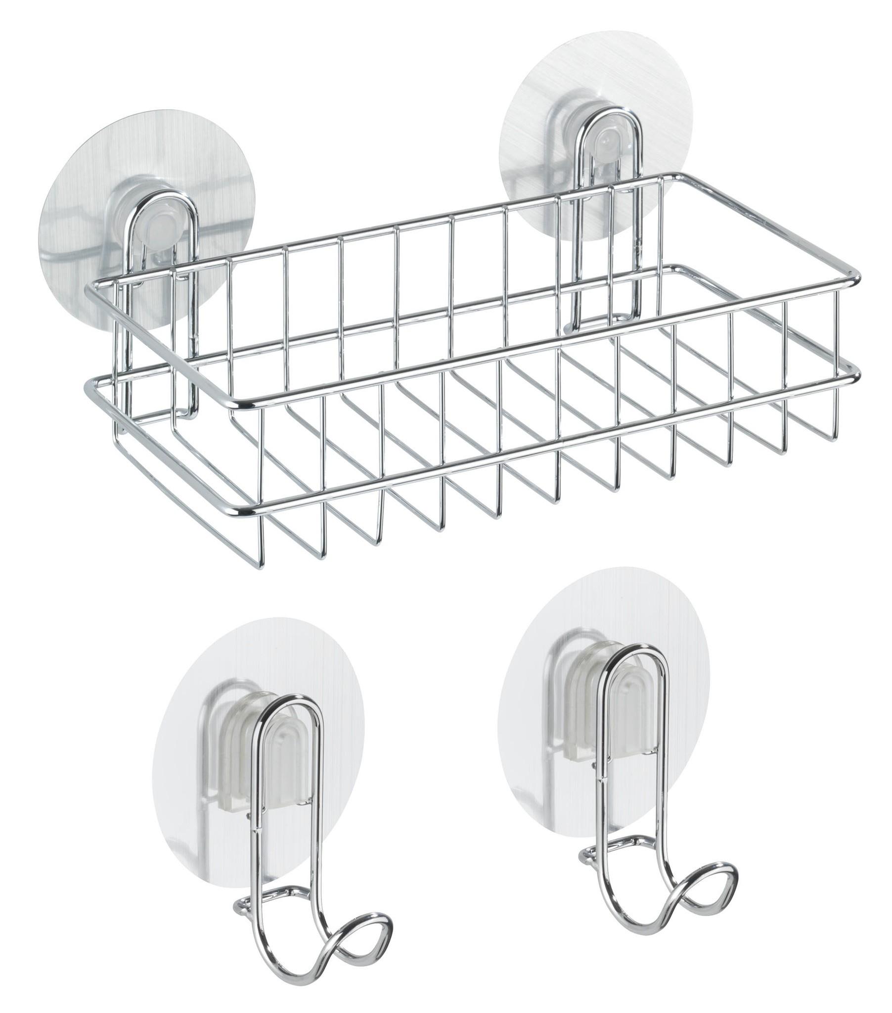 Wenko Static-Loc Wandablage und 2 Haken Osimo, 3-teiliges Set