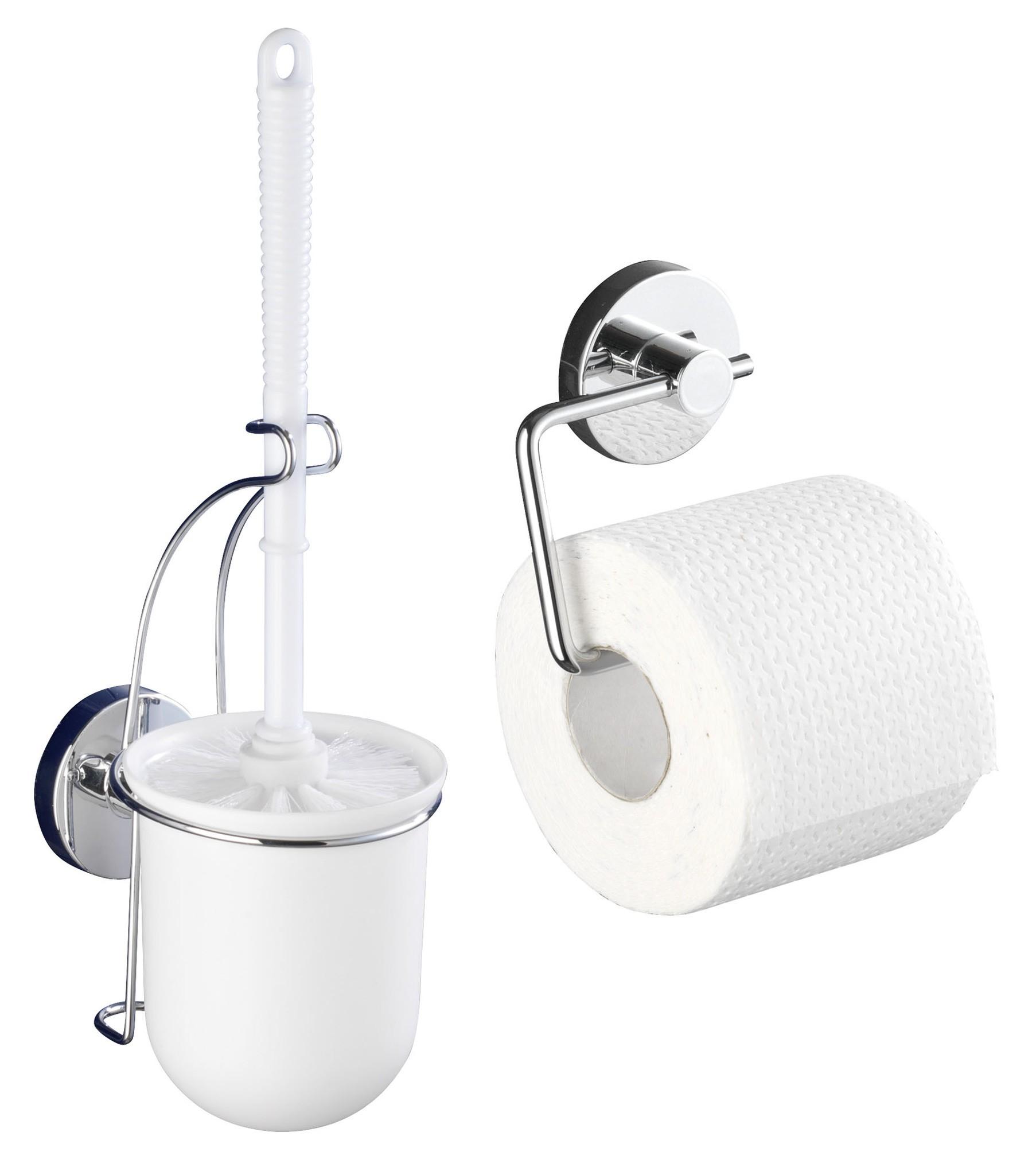 Wenko Vacuum-Loc Toilettenpapierhalter Milazzo und WC-Garnitur, 2-teiliges Set