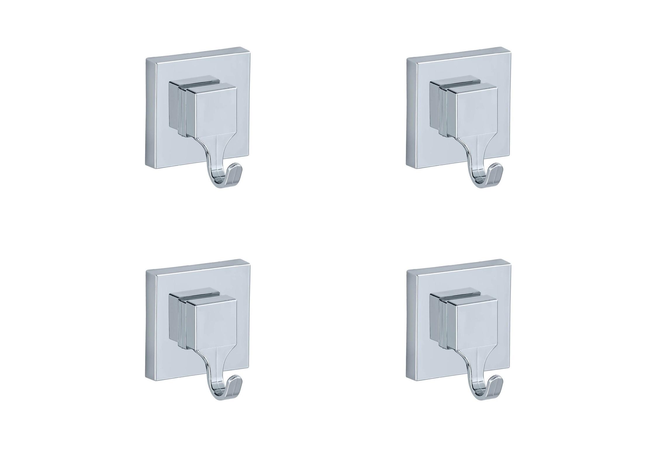 Wenko Vacuum-Loc® Wandhaken Quadro, 4er Set, Befestigen ohne bohren