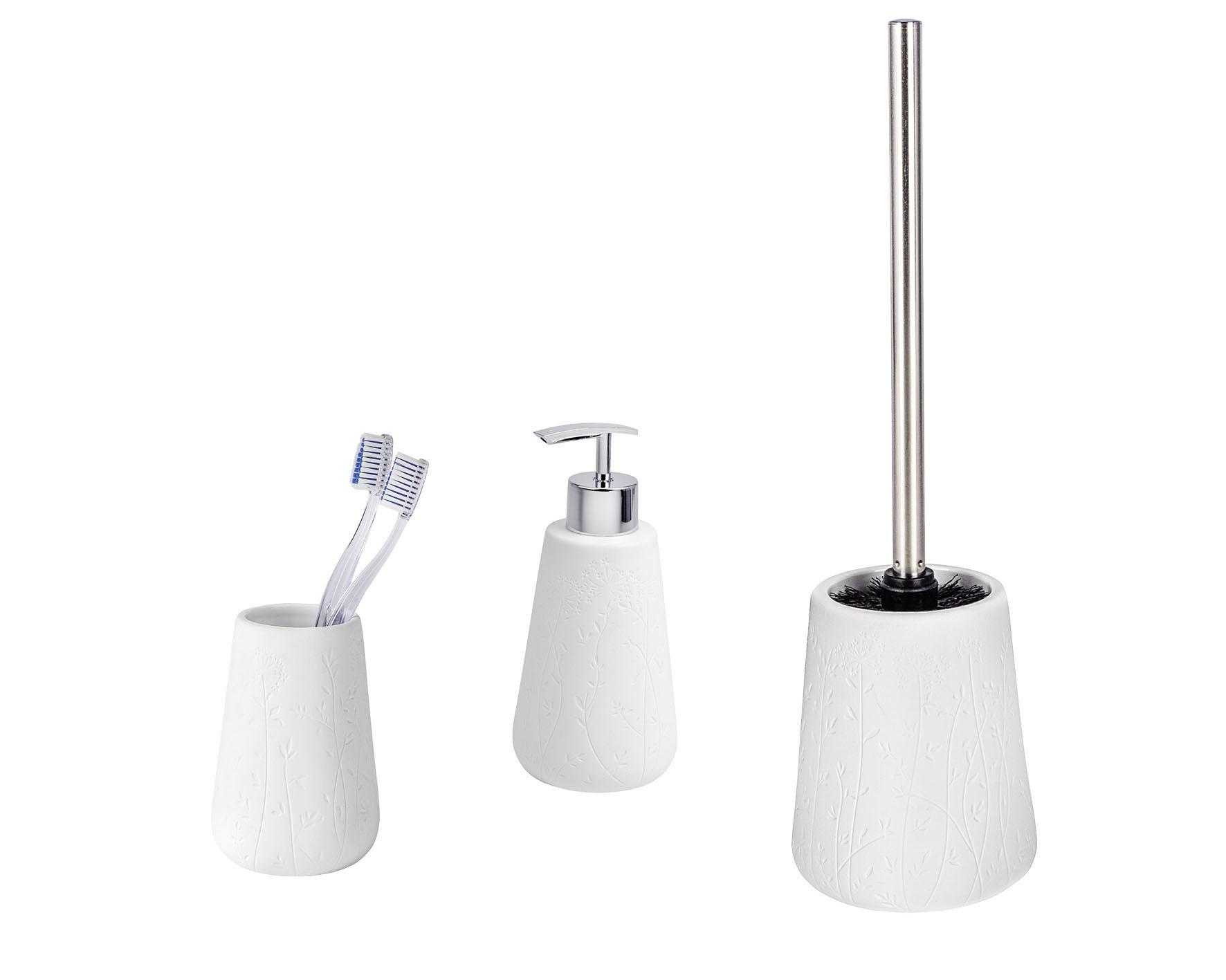 Wenko Bad-Accessoires Set Flora, 3-teilig, Zahnputzbecher, Seifenspender & WC-Garnitur