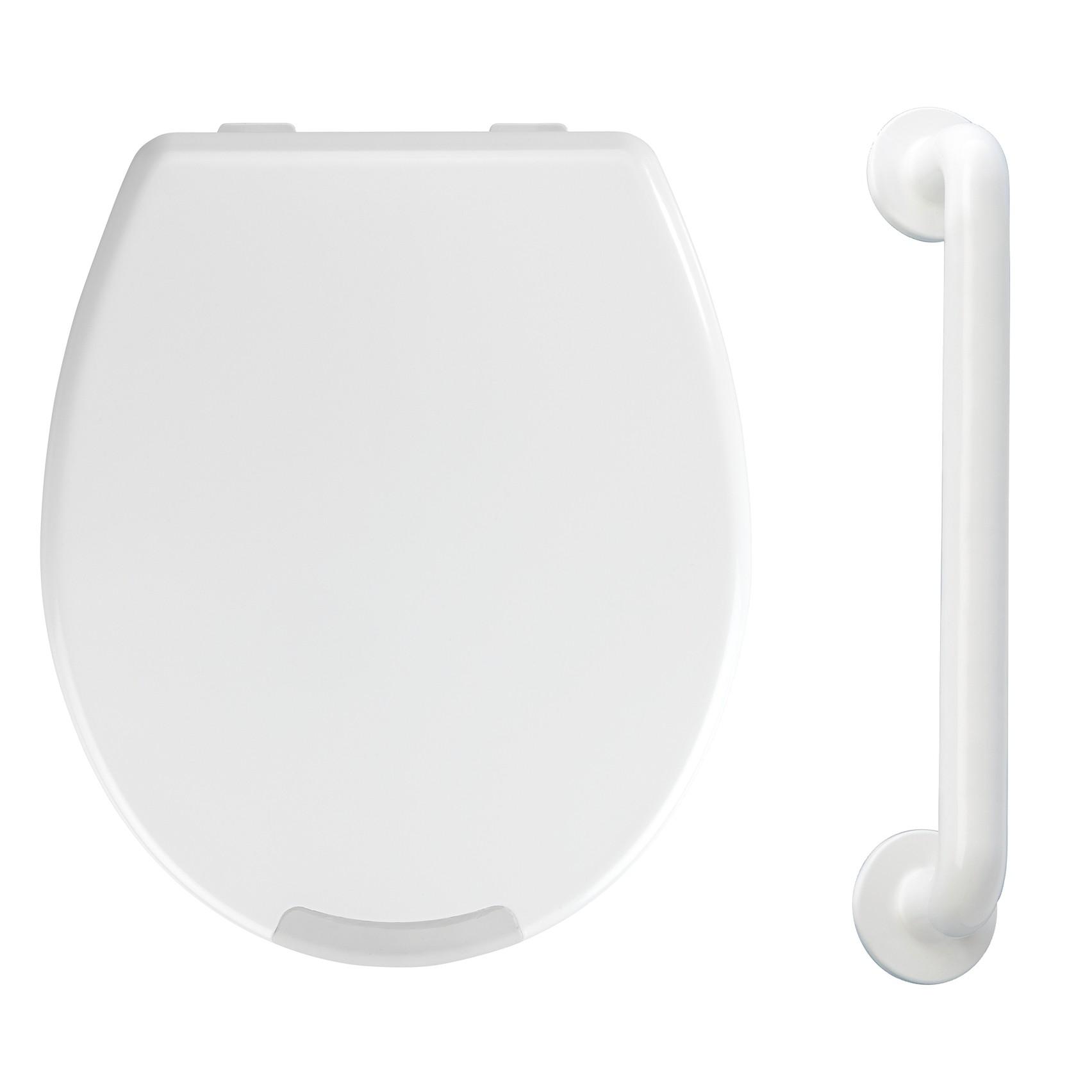 Wenko WC-Sitz mit Erhöhung & Haltegriff 43 cm Secura, für mehr Sicherheit im Bad