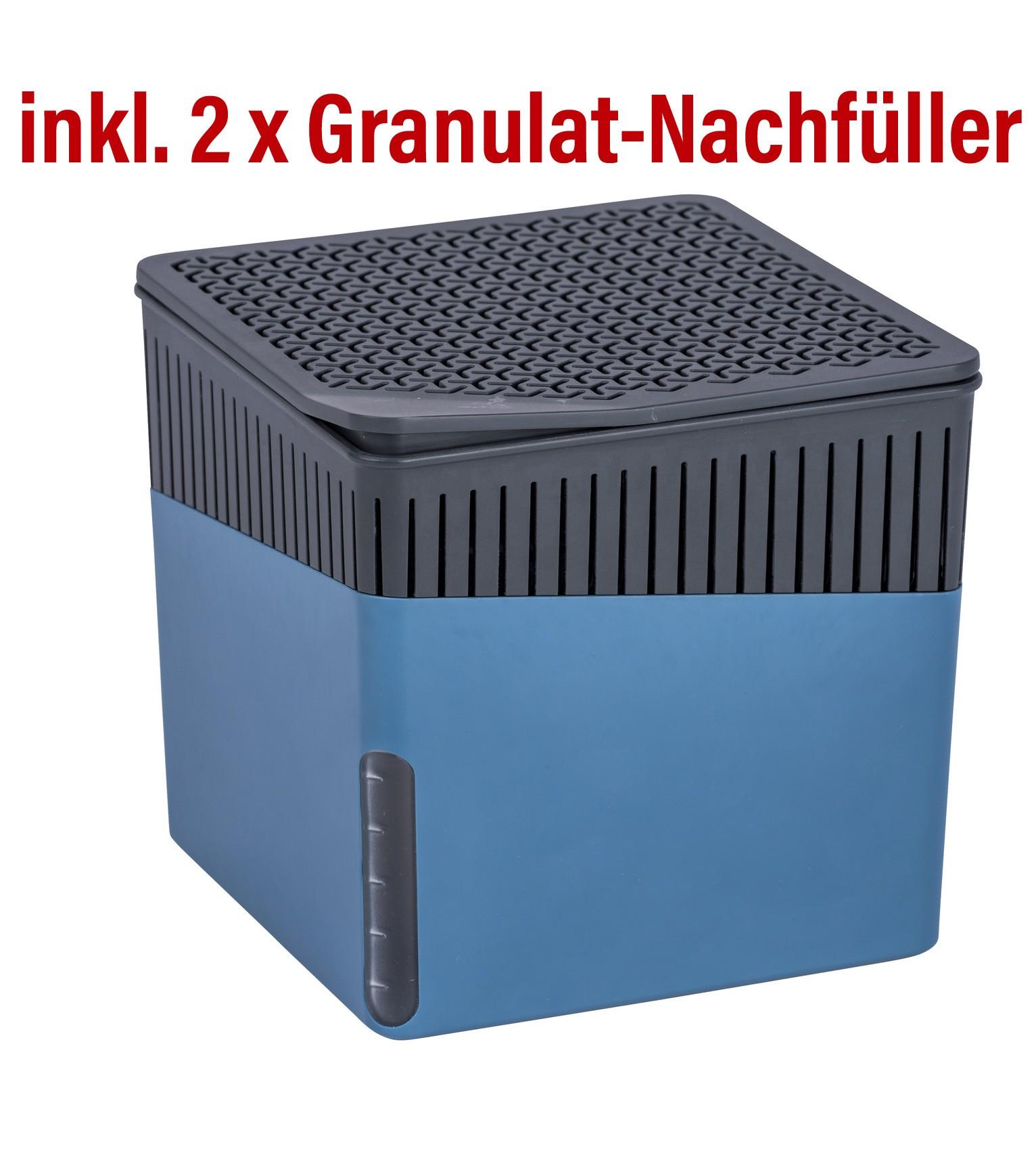 Wenko Raumentfeuchter Cube 1000 g blau mit Gratis-Nachfüller