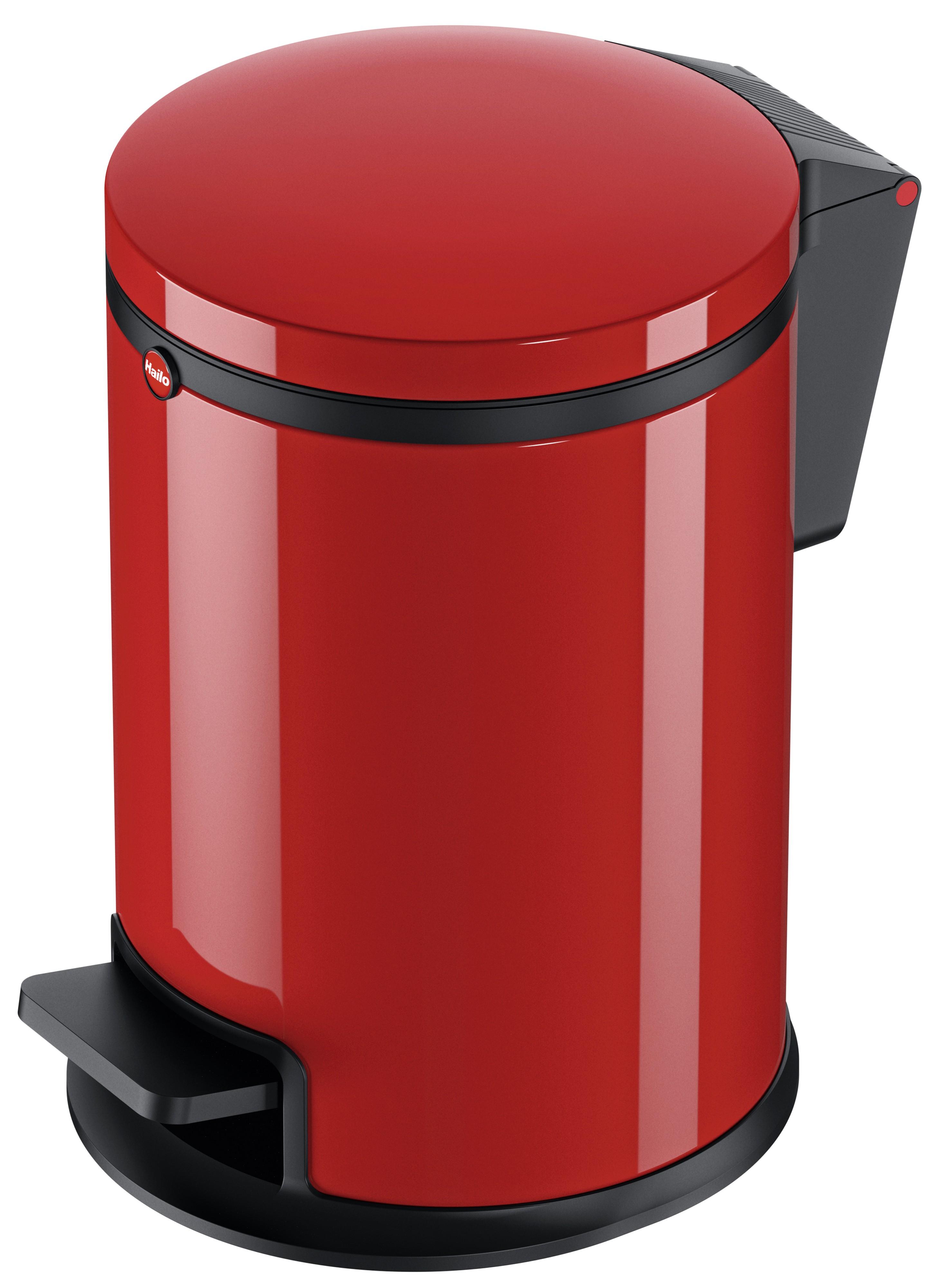Hailo Pure S, rot, 3 Liter, Inneneimer: Kunststoff, Tret-Kosmetikeimer