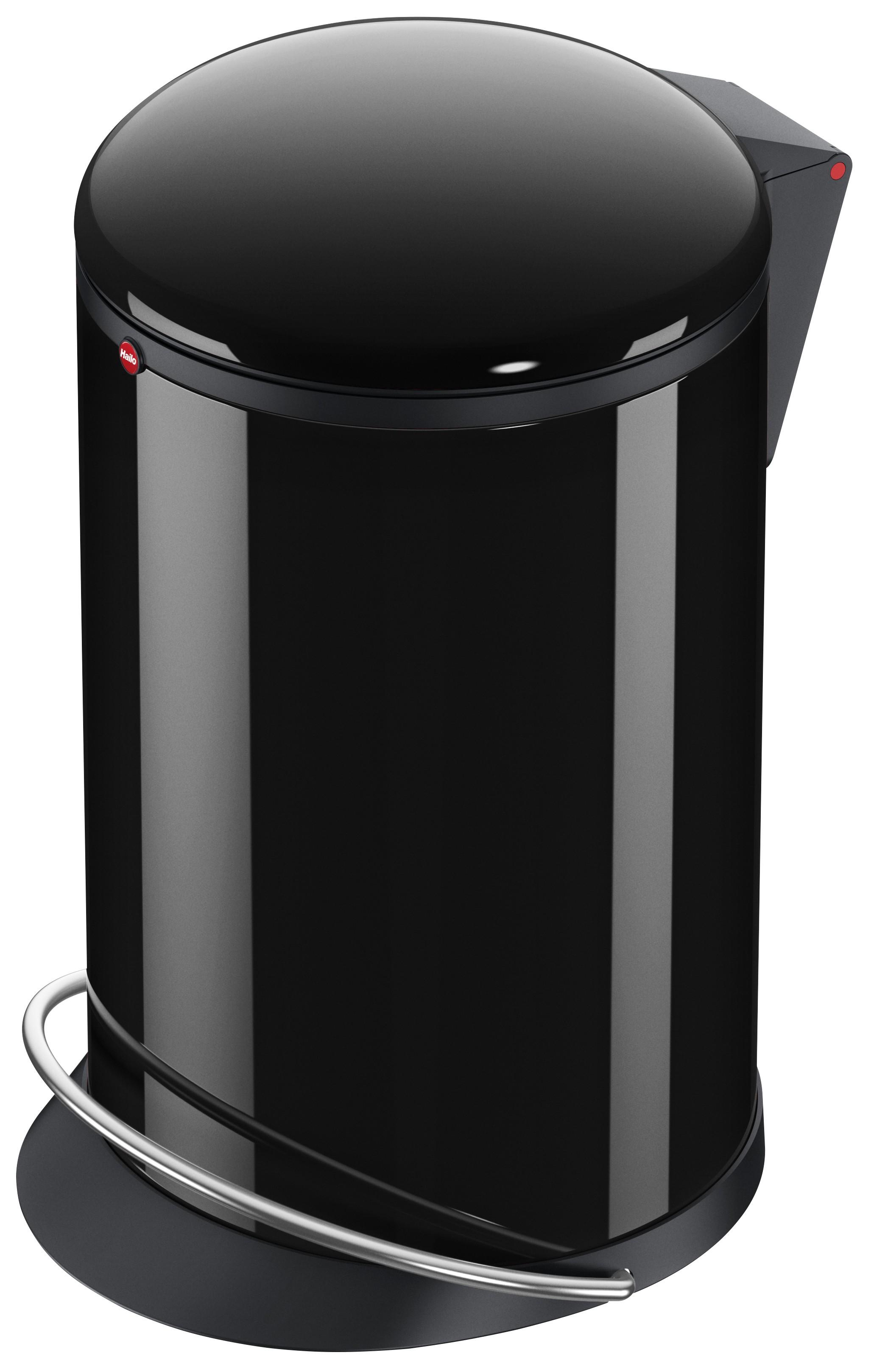 Hailo Harmony M, schwarz, 12 Liter, Inneneimer: Kunststoff, schwarz, Tret-Abfallsammler