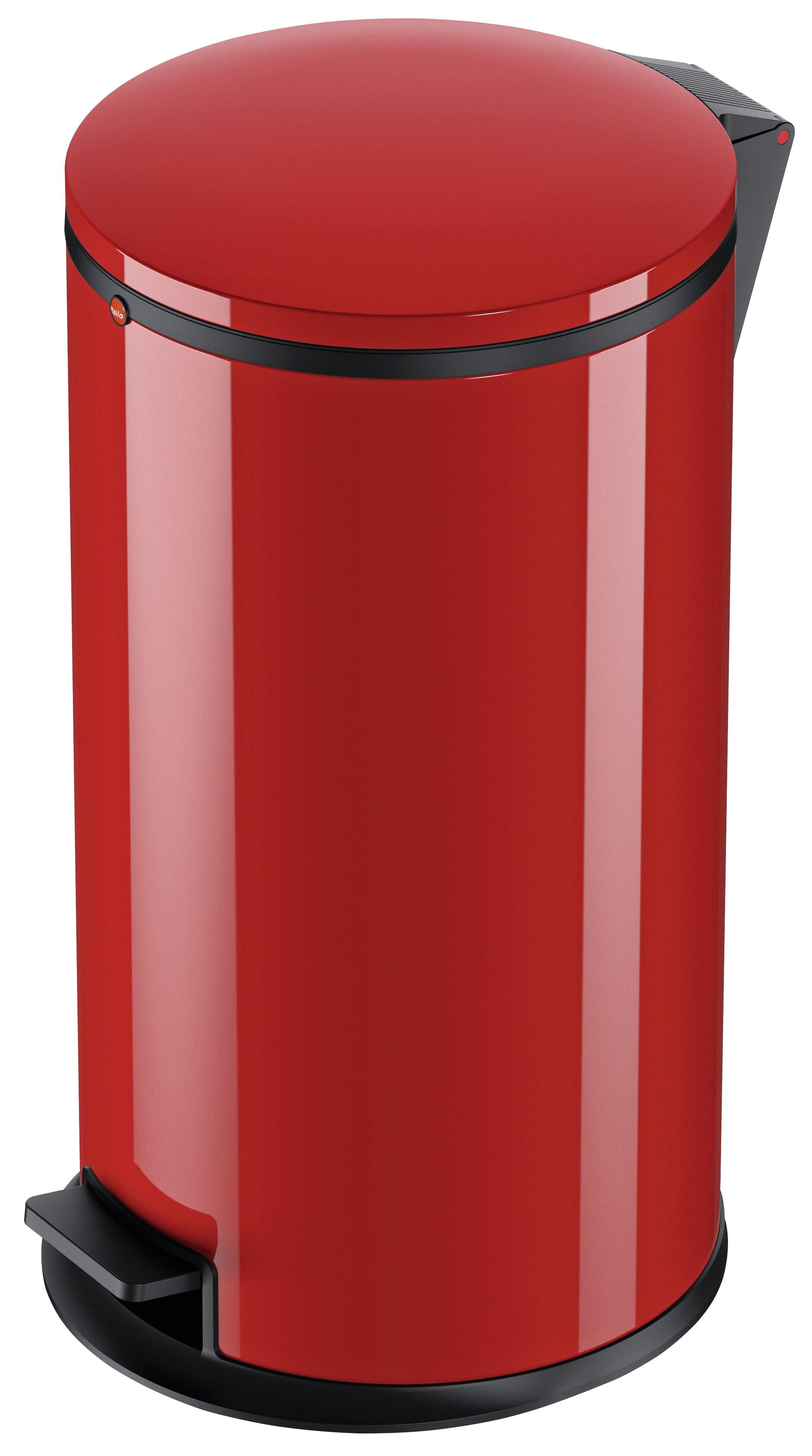 Hailo Pure L, Stahlblech rot, 25 Liter, Inneneimer: verzinkt, Tret-Abfallsammler