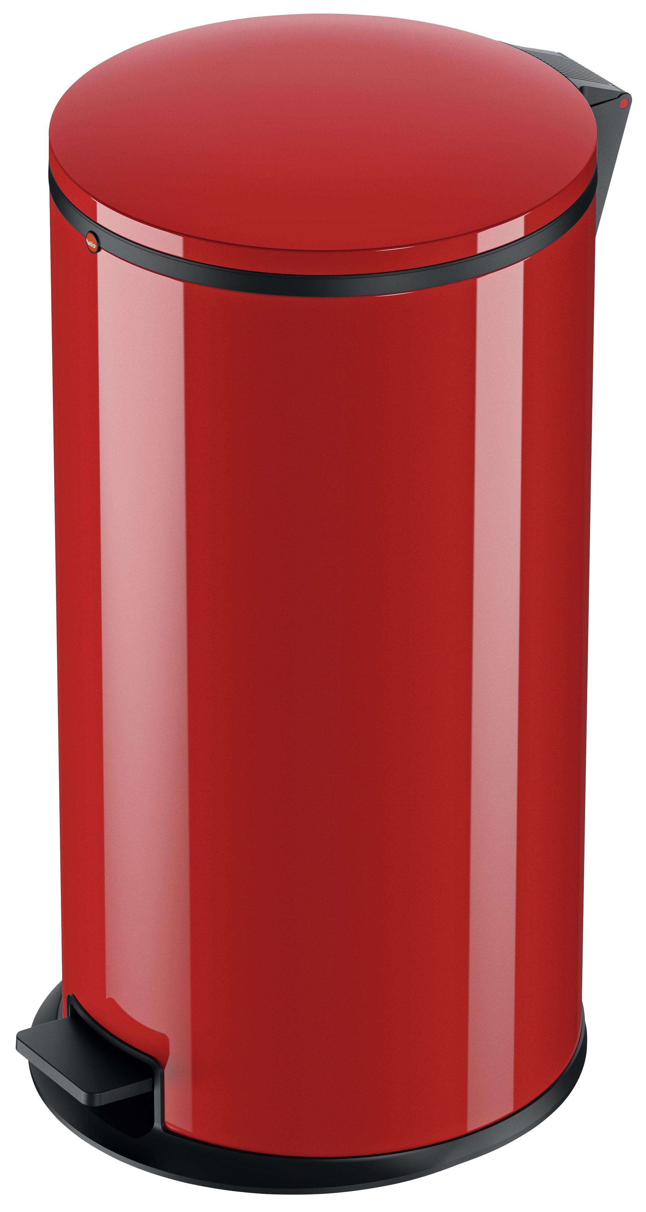 Hailo Pure XL, Stahlblech rot, 44 Liter, Inneneimer: verzinkt, Tret-Abfallsammler