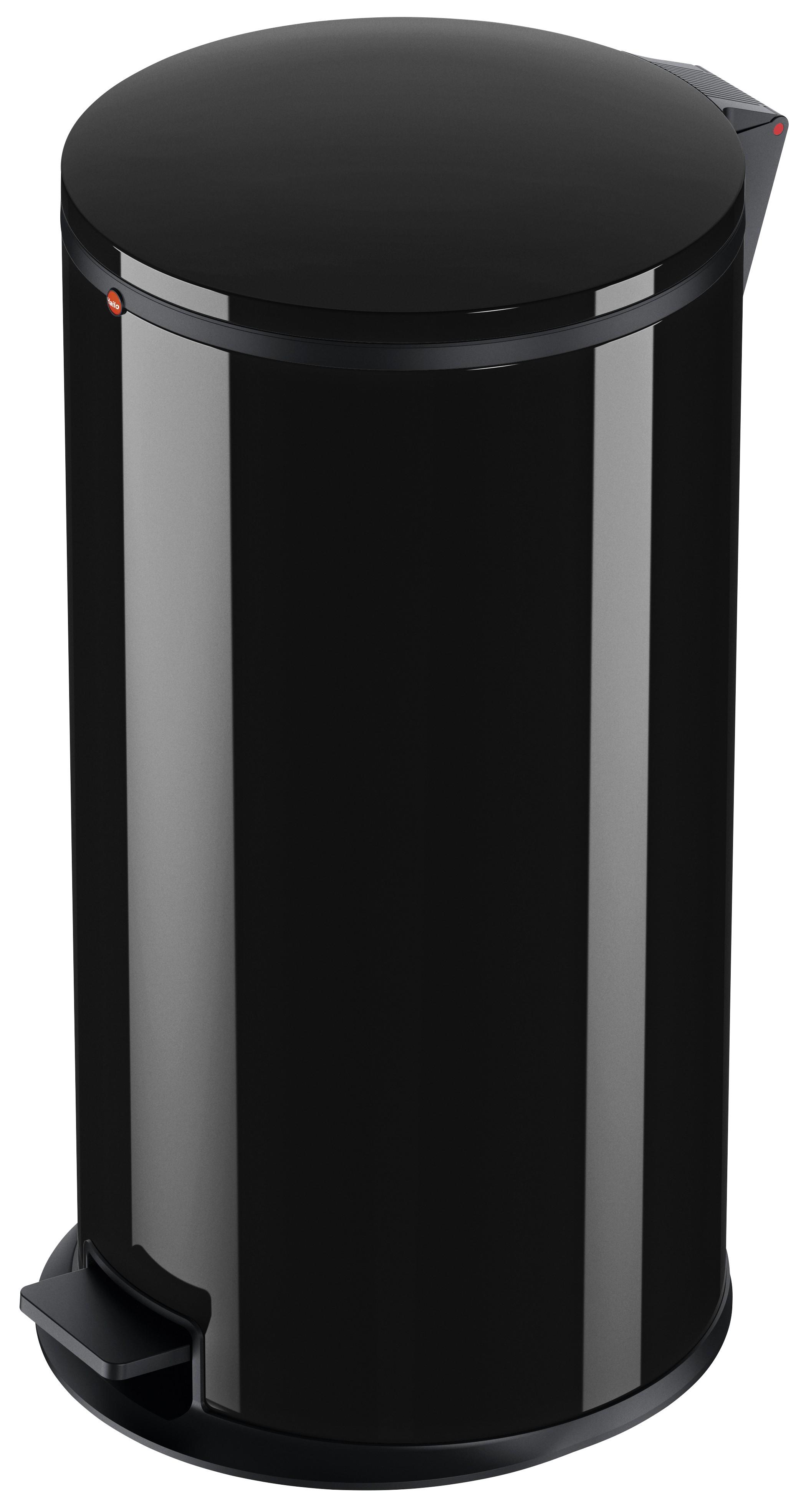 Hailo Pure XL, Stahlblech schwarz , 44 Liter, Inneneimer: verzinkt, Tret-Abfallsammler