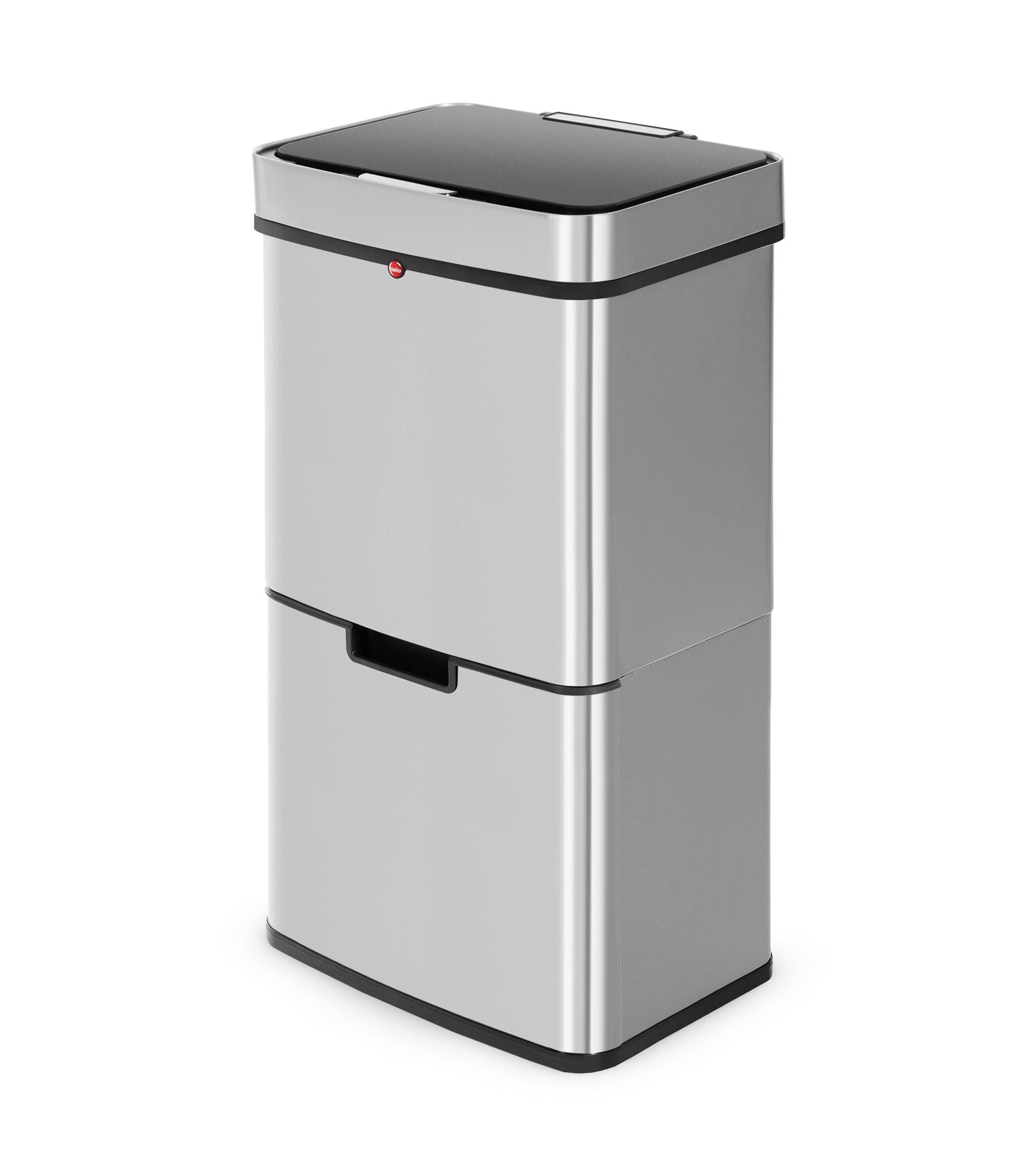 Hailo Öko Vario XL, 25 Liter, Edelstahl Anti-Fingerprint, Tret-Abfalltrenner