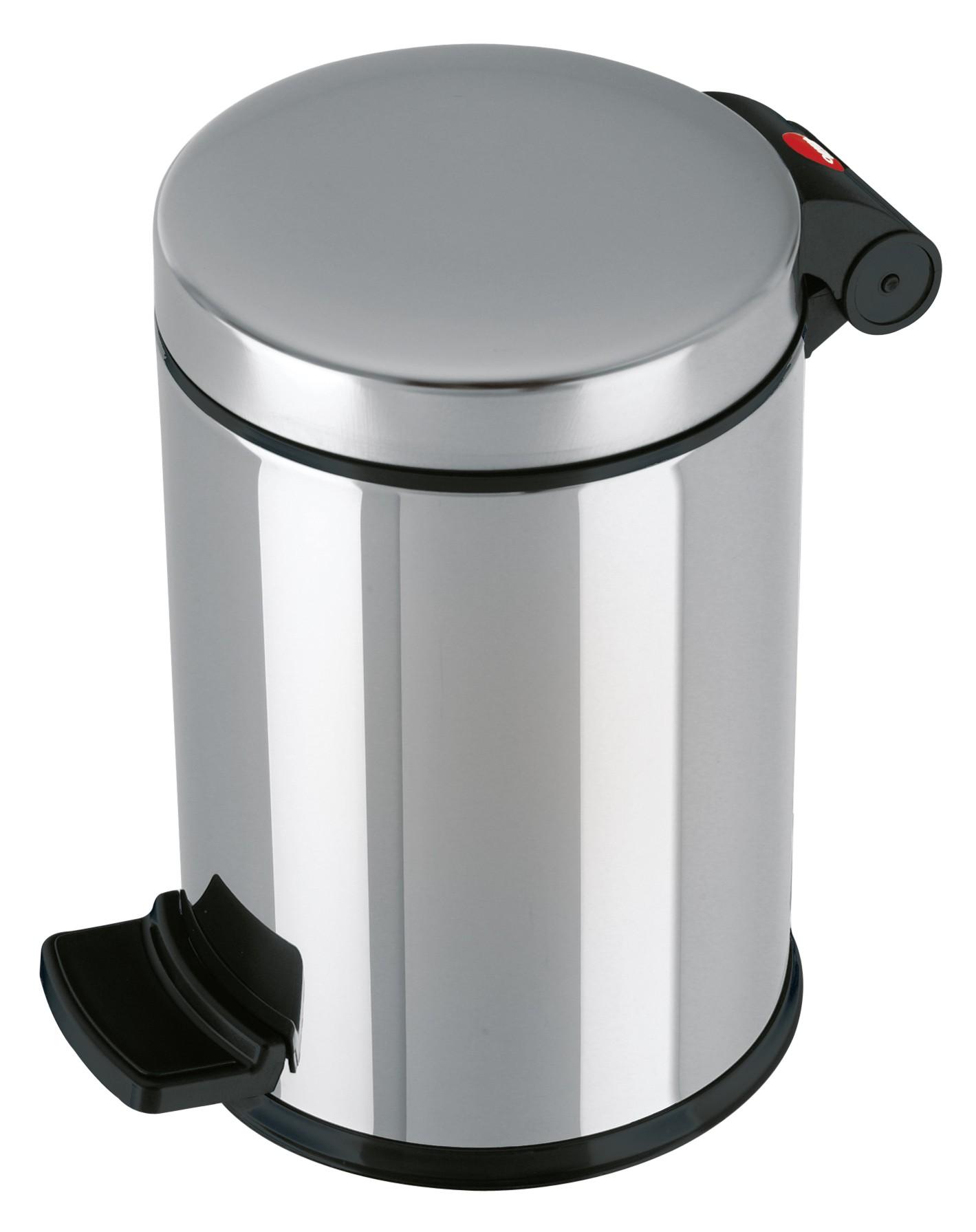 Hailo Solid S, Edelstahl, 4 Liter, Inneneimer: Kunststoff, Tret-Kosmetikeimer