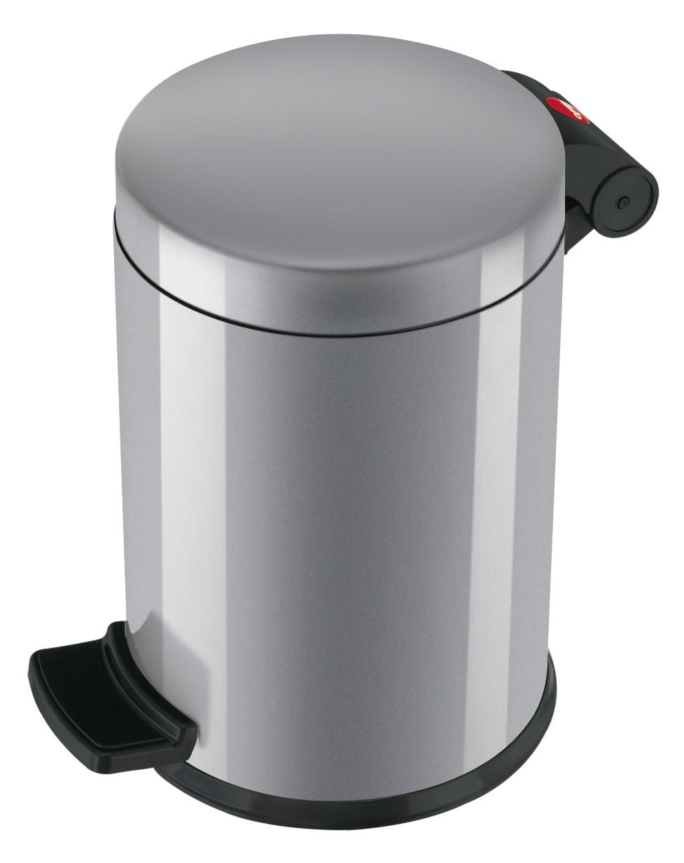 Hailo Solid S, silber, 4 Liter, Inneneimer: Kunststoff, Tret-Kosmetikeimer