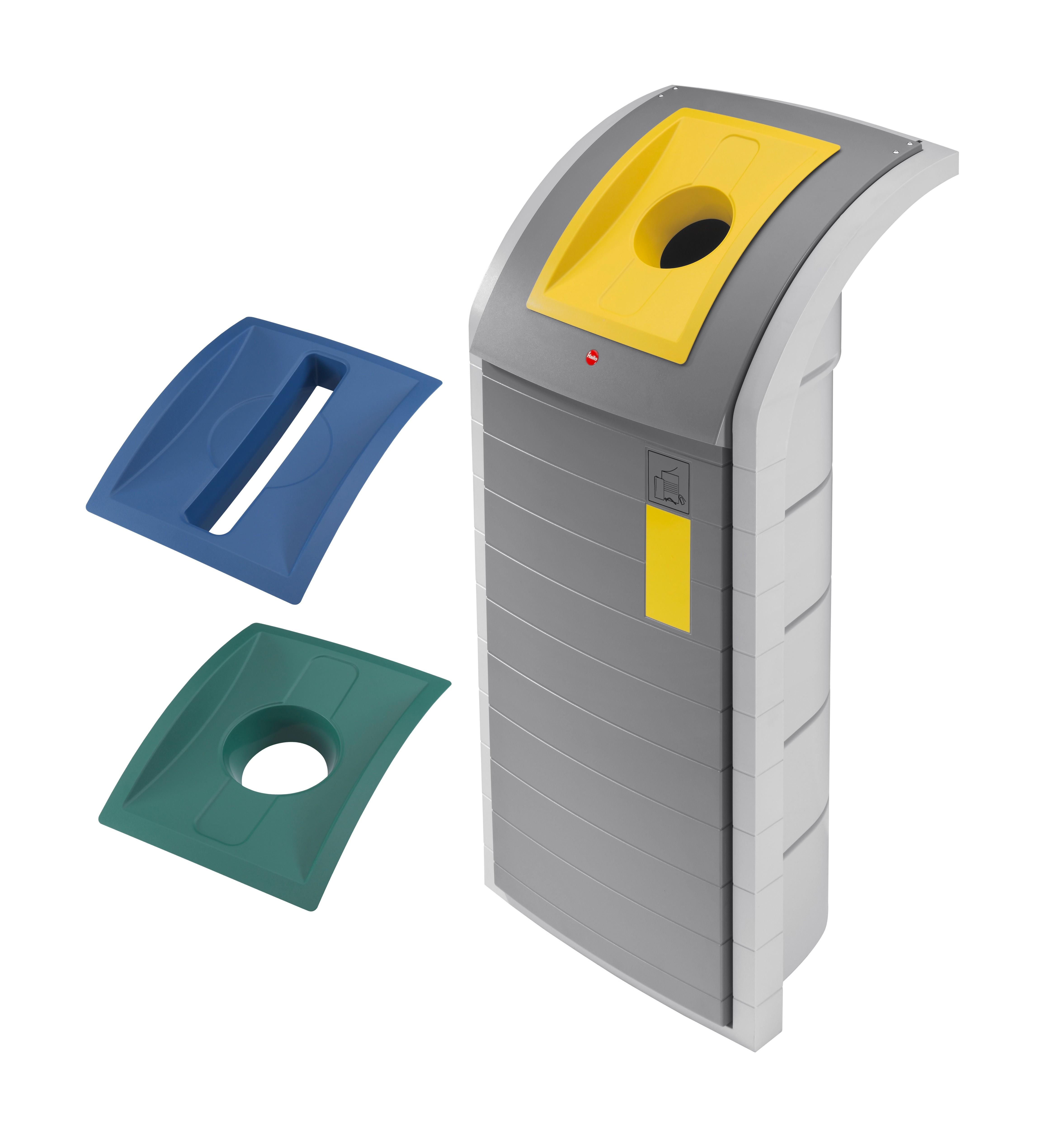 Hailo ProfiLine WSB-K plus, staubgrau, Einsätze: grün, gelb, blau, Wertstoffbehälter