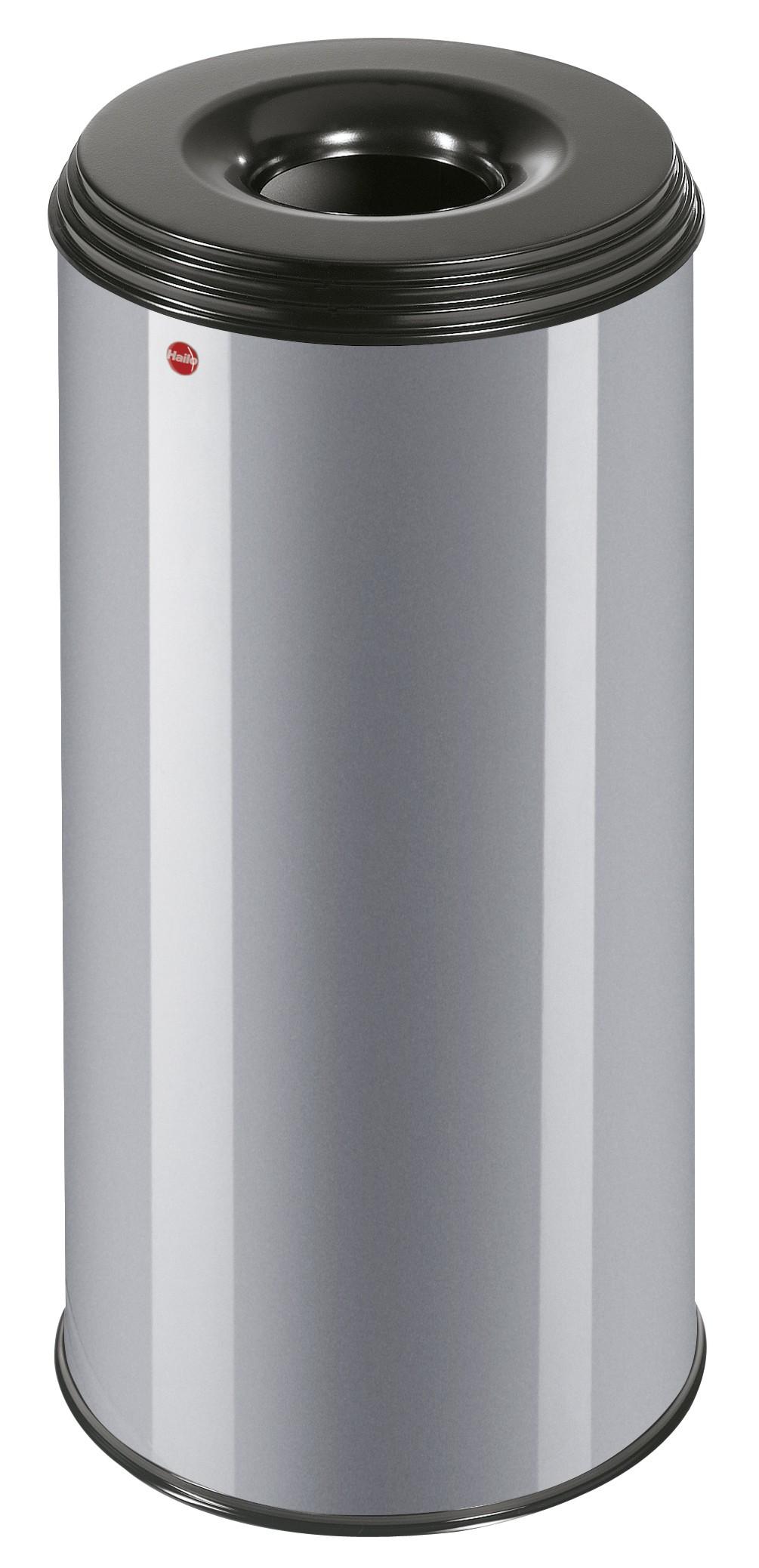 Hailo ProfiLine Safe XL, 45 Liter, Silber, Flammenlöschender Papierkorb