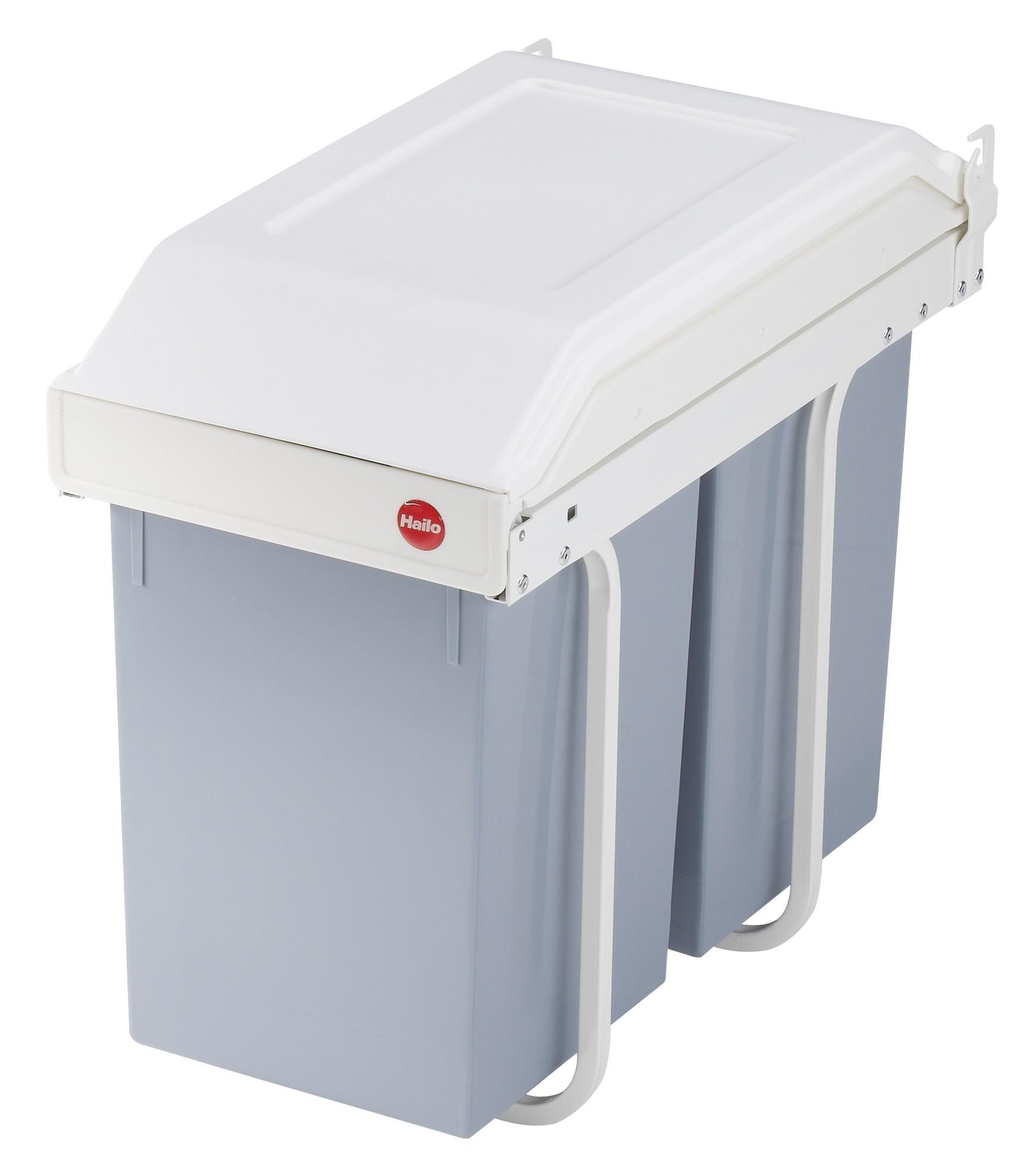 Hailo Mutli-Box Duo L, Einbau-Mülltrennungs-System, 2 x 14 l herausnehmbare Inneneimer