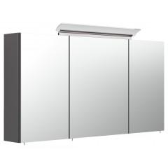 Posseik Spiegelschrank 120cm inkl. Design LED-Lampe und Glasböden anthrazit seidenglanz