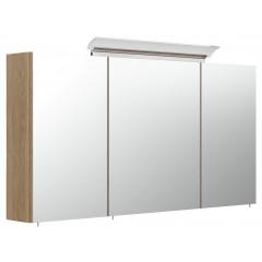 Posseik Spiegelschrank 120cm inkl. Design LED-Lampe und Glasböden eiche hell seidenglanz