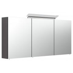 Posseik Spiegelschrank 140cm inkl. Design LED-Lampe und Glasböden anthrazit seidenglanz
