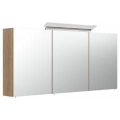 Posseik Spiegelschrank 140cm inkl. Design LED-Lampe und Glasböden eiche hell seidenglanz