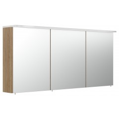 Posseik Spiegelschrank 140cm inkl. Design Acryl-Lampe und Glasböden eiche hell