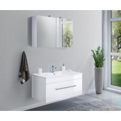 Posseik Badmöbel-Set VIVA 100 (2-teilig) weiß hochglanz Weiß-Weiß hochglanz EEK: F