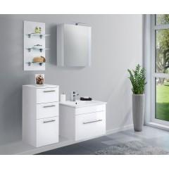 Posseik Badmöbel-Set VIVA 60 (4-teilig) weiß hochglanz mit LED Panel Weiß-Weiß hochglanz EEK: F