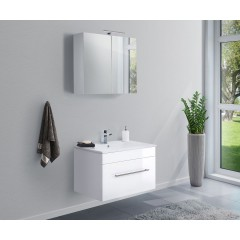 Posseik Badmöbel-Set VIVA 75 (2-teilig) weiß hochglanz Weiß-Weiß hochglanz EEK: F
