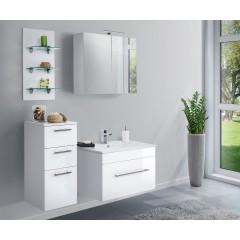 Posseik Badmöbel-Set VIVA 75 (4-teilig) weiß hochglanz mit LED Panel Weiß-Weiß hochglanz EEK: F