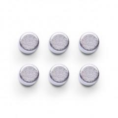 Zeller Magnet-Set, 6-tlg., extra stark, Edelstahl, silber, Ø0,6 x 0,8 cm