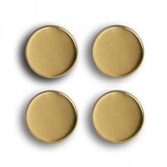 Zeller Magnet-Set, 4-tlg., extra stark, gold, Metall / Ferrit Magnet, Ø2,3 x 0,9 cm