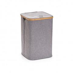 Zeller Wäschesammler, Polyester/Bambus, grau, 33 x 33 x 50 cm