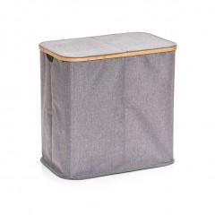 Zeller Wäschesammler, 2-fach, Polyester/Bambus, grau, 53,4 x 33 x 50 cm