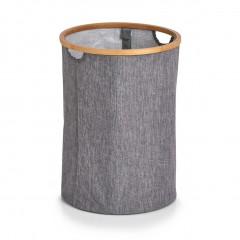 Zeller Wäschesammler, Kunstleinen/Bambus, grau, Ø36 x 50 cm
