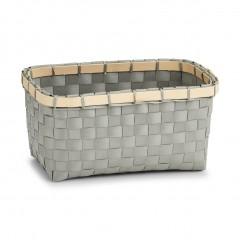 Zeller Aufbewahrungskorb, Kunststoff/Bambus, grau, 24 x 15 x 12 cm