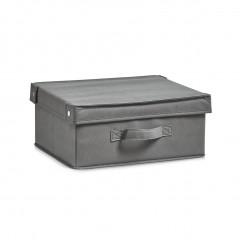 Zeller Aufbewahrungsbox m. Deckel, Vlies, grau, 33 x 28 x 15 cm